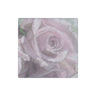 Watercolor Light Pink Rose - Marble Magnet