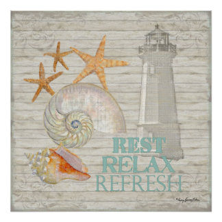 Watercolor Lighthouse Shells - Beach Cottage Decor