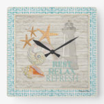 Watercolor Lighthouse Shells - Beach Cottage décor Square Wall Clock