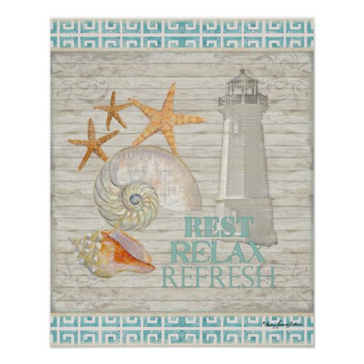 Watercolor Lighthouse Shells - Beach Cottage Decor Poster