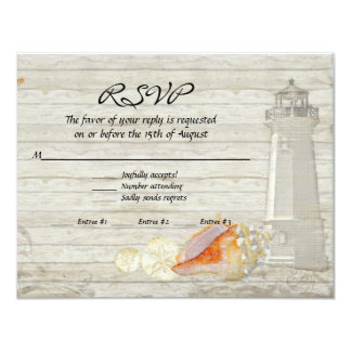 Watercolor Lighthouse Shells Beach Cottage Wedding 4.25x5.5 Paper Invitation Card