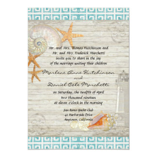 Watercolor Lighthouse Shells Beach Cottage Wedding Invitation