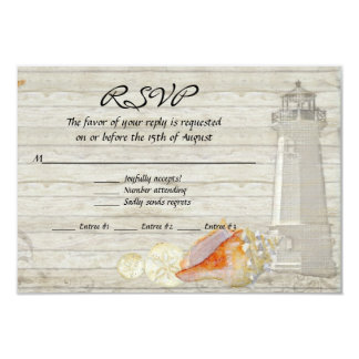 Watercolor Lighthouse Shells Beach Cottage Wedding 3.5x5 Paper Invitation Card