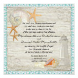 Watercolor Lighthouse Shells Beach Cottage Wedding 5.25x5.25 Square Paper Invitation Card
