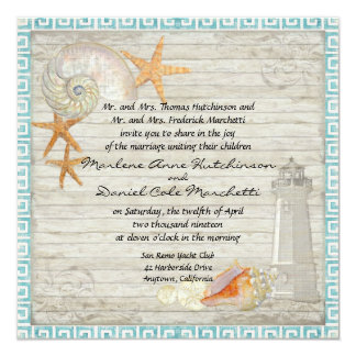 Watercolor Lighthouse Shells Beach Cottage Wedding Custom Invites
