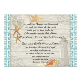 Watercolor Lighthouse Shells Beach Cottage Wedding Personalized Invitation