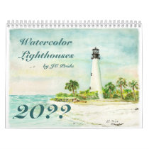 Watercolor Lighthouses by JC Prida Fine Art Calendar