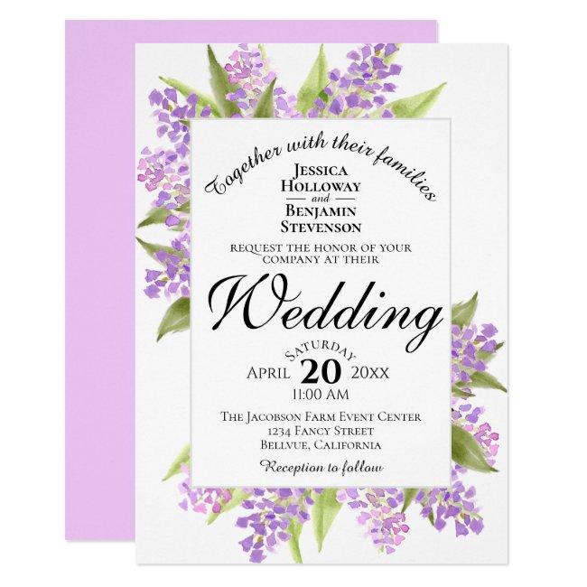 Watercolor Lilac Bouquet Spring Floral Wedding Invitation