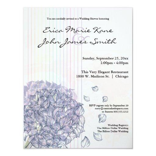 Watercolor Lilac Hydrangea Wedding Shower Invite