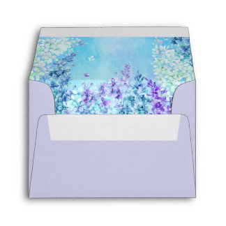Watercolor Lilac Mint Aqua Purple Envelope