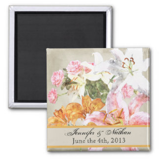Watercolor Lilies Customized Save the Date Magnet