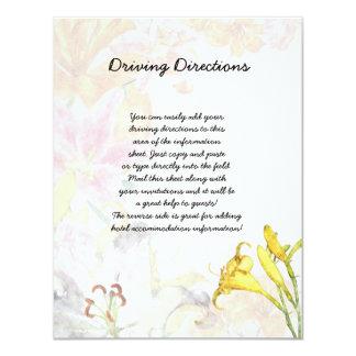 Watercolor Lilies Informational Sheet Card