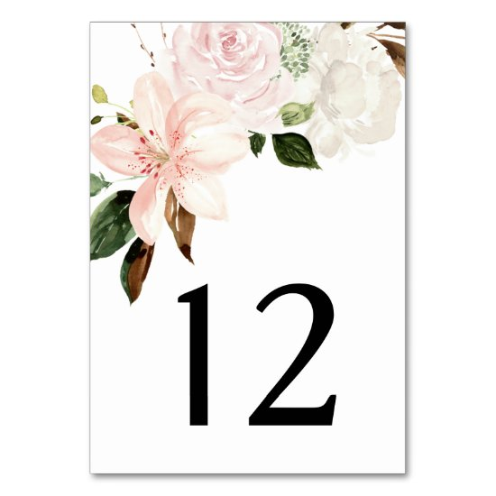 Watercolor Lilies, Magnolias, Roses Peonies | Table Number
