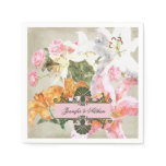 Watercolor Lilies Paper Wedding  Napkins
