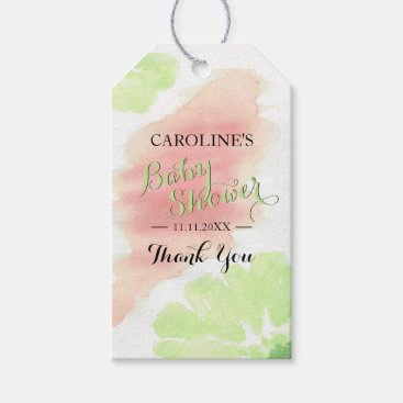 Toddler & Baby themed Watercolor Lime Green Peach Floral Baby Shower Gift Tags