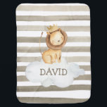 """Watercolor Lion Crown Grey Personalized Baby Blanket<br><div class=""""desc"""">Watercolor Lion Crown Grey Personalized</div>"""