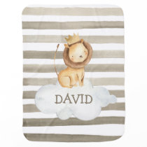 Watercolor Lion Crown Grey Personalized Baby Blanket