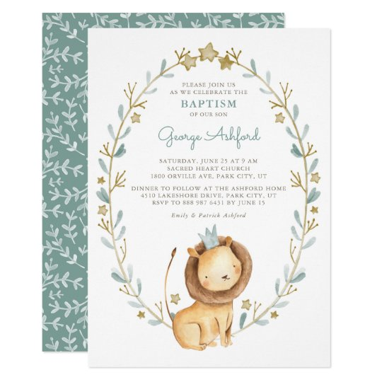 Watercolor Lion Prince Baby Boy Baptism Invitation Zazzle Com