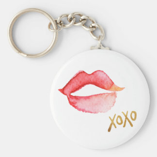Watercolor Lips & Gold Foil XOXO Basic Round Button Keychain