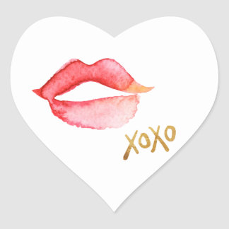 Watercolor Lips & Gold Foil XOXO Heart Sticker