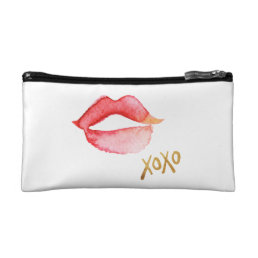 Watercolor Lips & Gold Foil XOXO Makeup Bag
