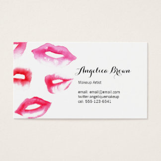 Watercolor Lipstick Business Card