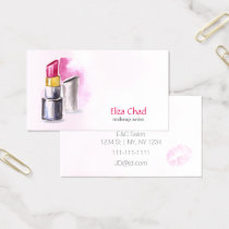watercolor lipstick Makeup artist Business Cards