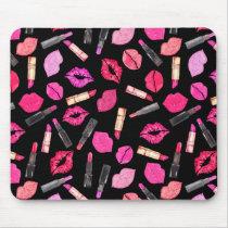 Watercolor Lipstick Pattern Makeup Artist Mouse Pa Mouse Pad