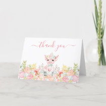 Watercolor Little Piggy Baby Shower Thank You Card