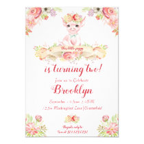 Watercolor Little Piglet Birthday Party Invitation