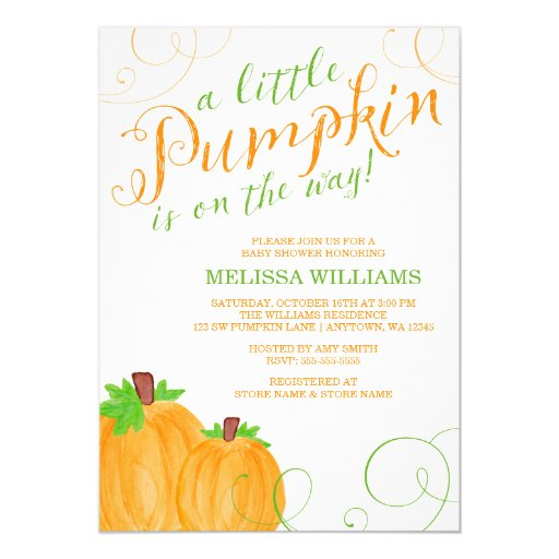 Watercolor Little Pumpkin Fall Baby Shower 5x7 Paper Invitation Card