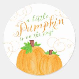 Watercolor Little Pumpkin Fall Baby Shower Classic Round Sticker