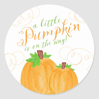 Watercolor Little Pumpkin Fall Baby Shower Classic Round Sticker