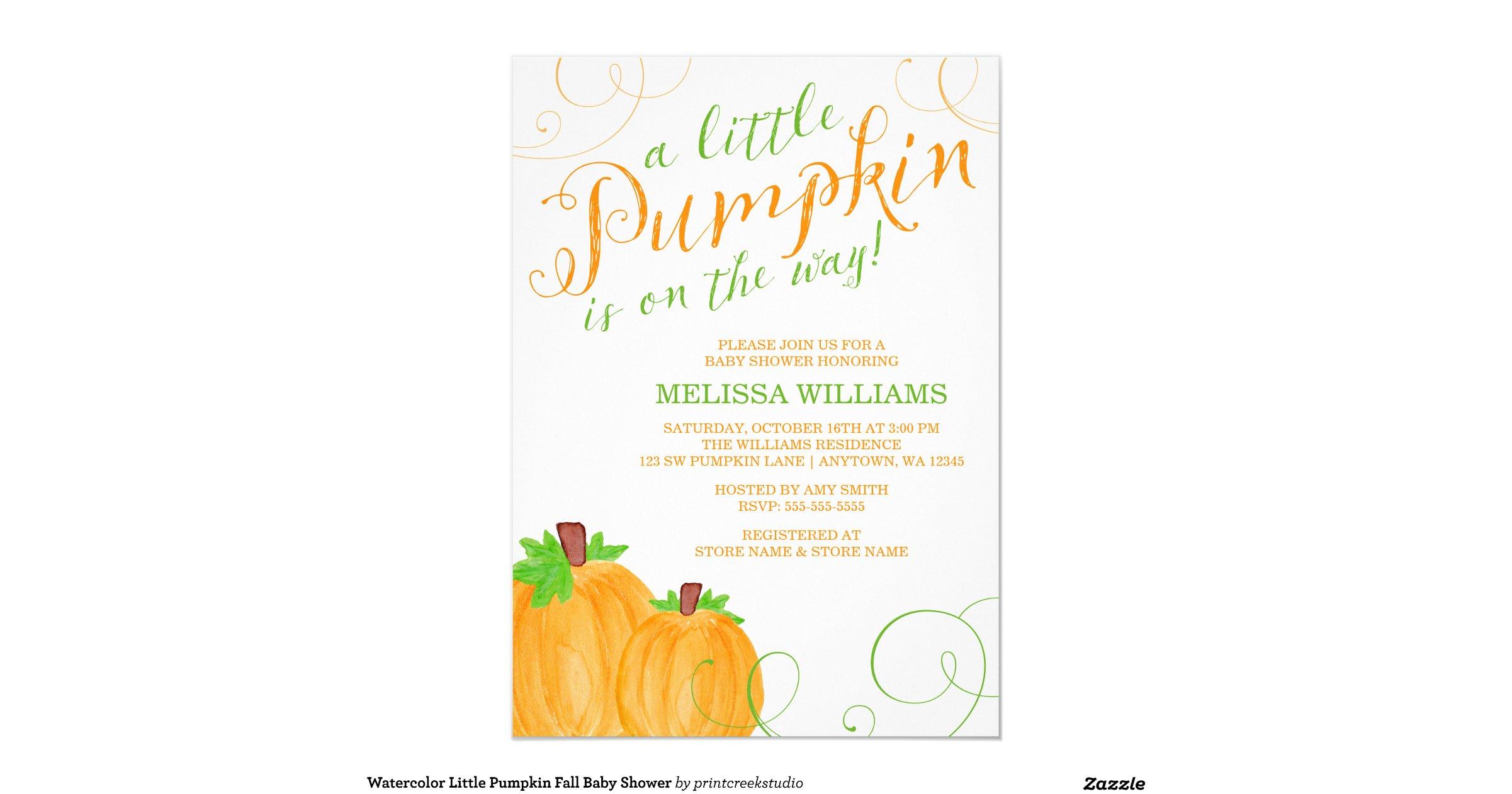 little pumpkin fall baby shower 5x7 paper invitation card zazzle