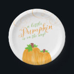 """Watercolor Little Pumpkin Fall Baby Shower Paper Plate<br><div class=""""desc"""">Watercolor little pumpkin baby shower paper plates. A cute fall themed baby shower for a boy or girl. Design features two orange pumpkins,  swirls and a modern script font in green and autumn orange.</div>"""