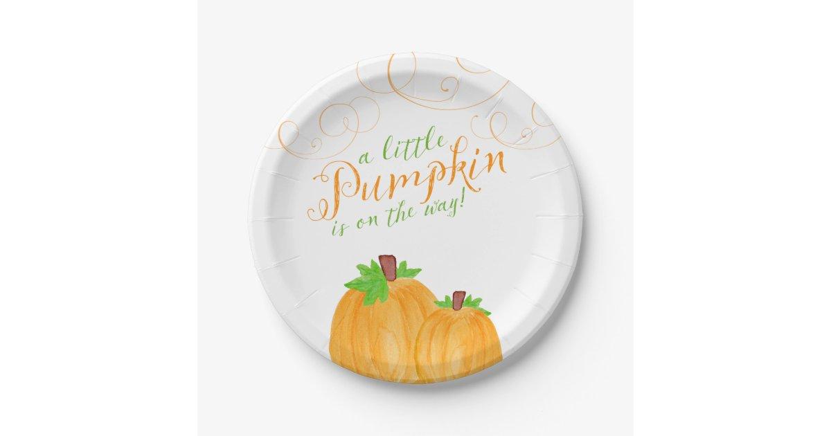 Watercolor Little Pumpkin Fall Baby Shower Paper Plate