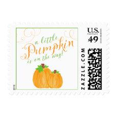 Watercolor Little Pumpkin Fall Baby Shower Postage