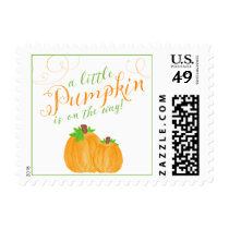 Watercolor Little Pumpkin Fall Baby Shower Postage Stamp