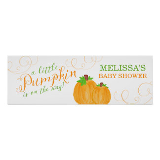 Watercolor Little Pumpkin Fall Baby Shower Poster