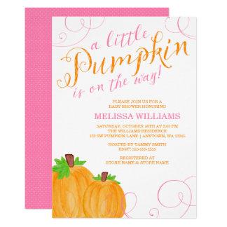 Watercolor Little Pumpkin Fall Girl Baby Shower Card