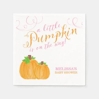 Watercolor Little Pumpkin Fall Girl Baby Shower Napkin