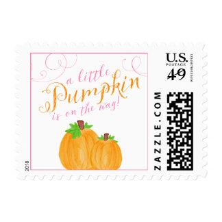 Watercolor Little Pumpkin Fall Girl Baby Shower Postage