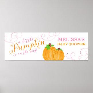 Watercolor Little Pumpkin Fall Girl Baby Shower Poster