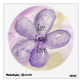 Watercolor Live Laugh Love Flower Wall Sticker