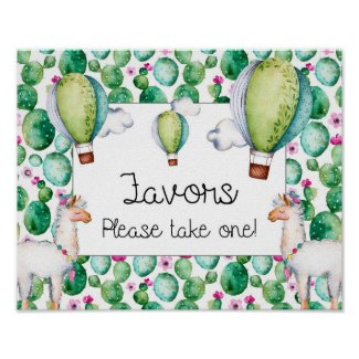 Watercolor Llama Fiesta Baby Shower Favors Sign