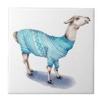 Watercolor Llama in Blue Sweater Ceramic Tile