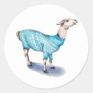 Watercolor Llama in Blue Sweater Classic Round Sticker