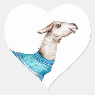 Watercolor Llama in Blue Sweater Heart Sticker