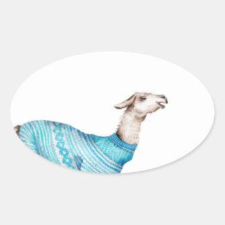 Watercolor Llama in Blue Sweater Oval Sticker