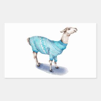 Watercolor Llama in Blue Sweater Rectangular Sticker